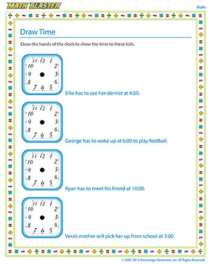 Free kindergarten time worksheet