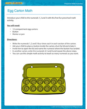 Did you see 'Egg Carton Math'- MathBlaster's Printable Math Activity for Preschoolers