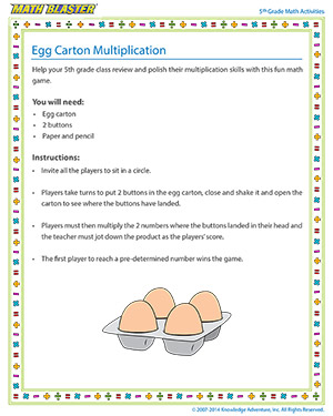 Egg Carton Multiplication - Printable Online 5th Grade multiplication Activity for Kids