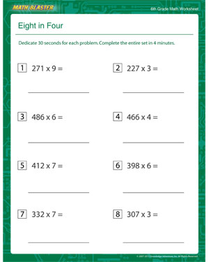 ... in Four - Free Multiplication Printable for 6th Grade - Math Blaster