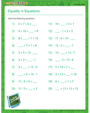 Equality in Equations - Free Printable Math Worksheet for 4th Grade