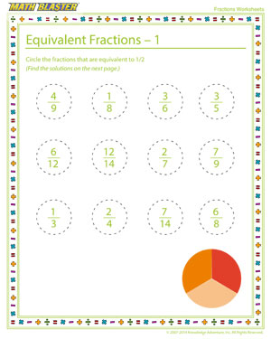 Equivalent Fractions - 1 - Printable Fractions Worksheet for Children