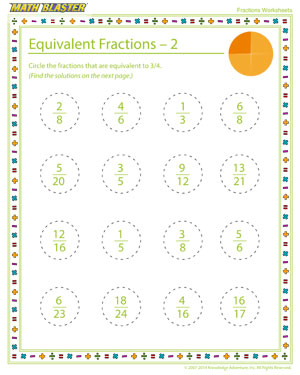 Equivalent Fractions – 2 - Printable Fractions Worksheet for Elementary Graders
