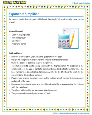 Exponents Simplified - Printable Online 5th Grade exponents-simplified Activity for Kids