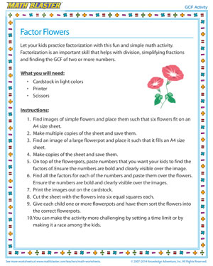 Factor Flowers - Printable GCF Activity for Kids