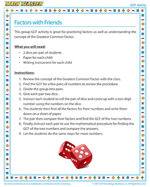 photograph regarding Factor Game Printable identified as Things to consider with Close friends - Enjoyable GCF Recreation - Math Blaster