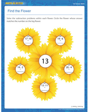 Find the Flower - Printable Subtraction Worksheet for Elementary
