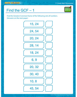 Free GCF Worksheet for 7th Grade