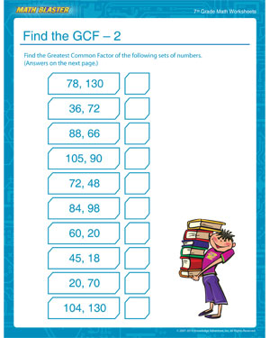Free Printable GCF Worksheet for 7th Graders