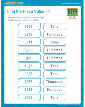 find the place value 1 place value worksheet for 7th grade math blaster. Black Bedroom Furniture Sets. Home Design Ideas