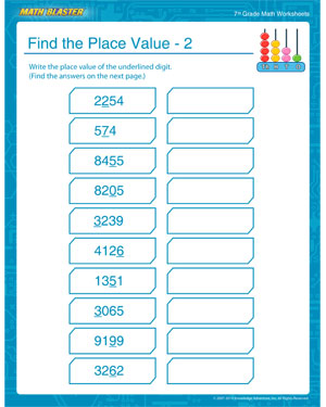 Help your 7th Grader learn about place values