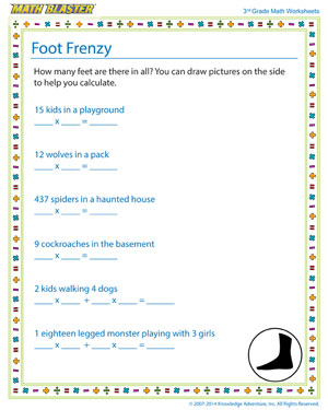 Foot Frenzy - Printable Math Worksheet for Kids
