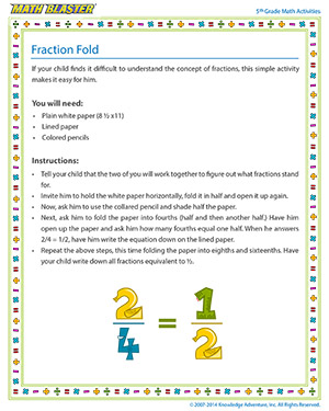 Fraction Fold - Printable Online 5th Grade fractions Activity for Kids