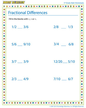Fractional Differences - Free Fraction Worksheet