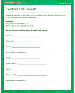 Fractions and Decimals - Printable Decimal Worksheet for Kids