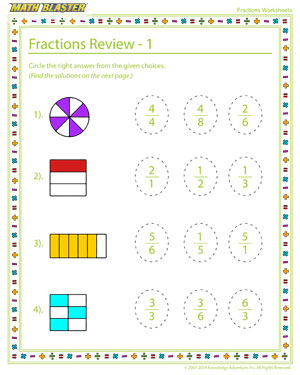 Fractions Review - 1 - Printable Worksheet to Teach your Child Fractions