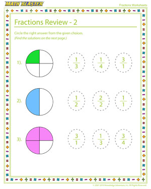 Fractions Review – 2 – Fractions Worksheet Online Free – Math Blaster