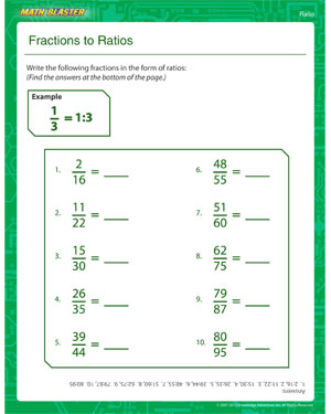 Fractions to Ratios – Printable Ratio Worksheet – Math Blaster