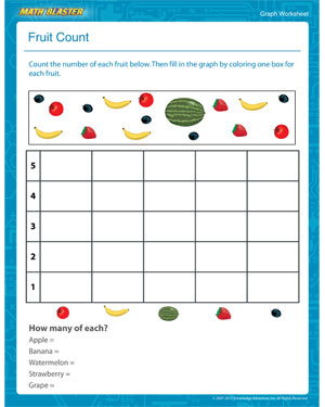 Fruit Count - Fun Graph Worksheet for Kindergarten - Math Blaster