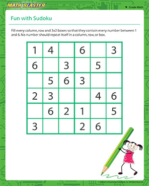 math worksheet : fun with sudoku  sudoku worksheet for 4th grade  math blaster : Printable Worksheets For 4th Grade Math
