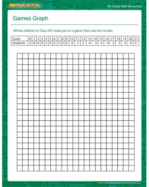 Games Graph - Printable Math Worksheet for Sixth Grade