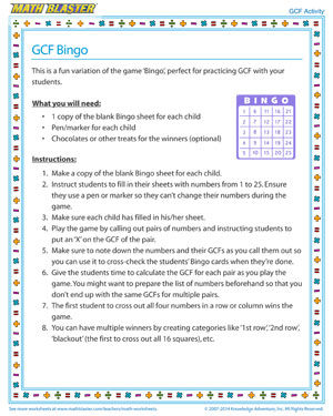 Gcf Bingo Fun Gcf Activity For Fourth Grade Math Blaster