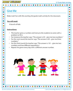 Give Me - Free 3rd Grade Printable Number Sense Activity