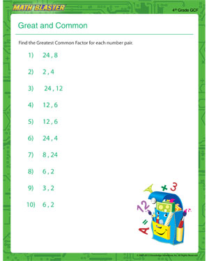 Great and Common – Free GCM Printable Worksheet – Math Blaster