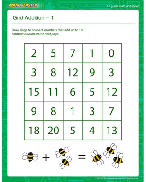 Grid Addition – 1 - Printable Math Worksheet for 1st Grade