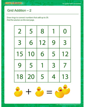 Grid Addition – 2 - Printable Math Worksheet for 1st Grade