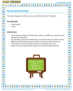 image regarding Printable Math Games 3rd Grade identify Wager the Amount Printable Math Functions for 3rd Quality