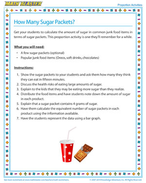 How Many Sugar Packets - Printable Proportions Activity for Kids