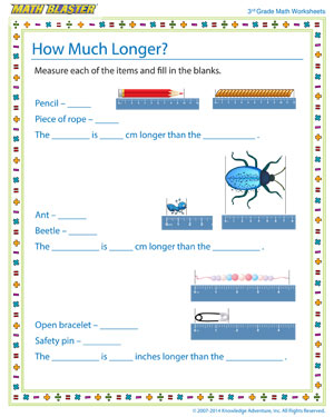 how much longer measurement worksheets for grade 3 math blaster. Black Bedroom Furniture Sets. Home Design Ideas