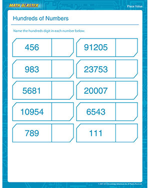 Hundreds of Numbers - Printable Place Value Worksheet for 3rd Graders
