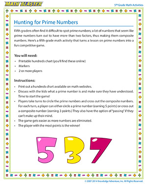 Hunting for Prime Numbers - Printable 5th Grade Activity for Kids