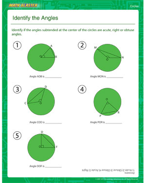Identify the Angles - Printable 5th Grade Circle Worksheet