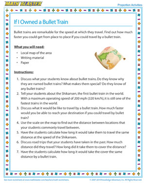 If I Owned a Bullet Train - Printable Proportions Activity for Kids