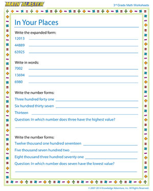 In Your Places - Free Place Value Worksheet for 3rd Grade