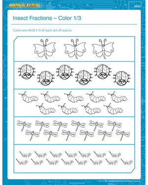 Insect Fractions – Color One Third - Printable Fractions Worksheet for First Graders