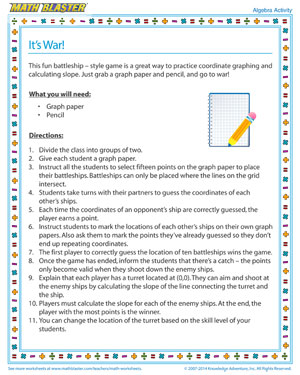 It's War - Printable Algebra Activity for Kids
