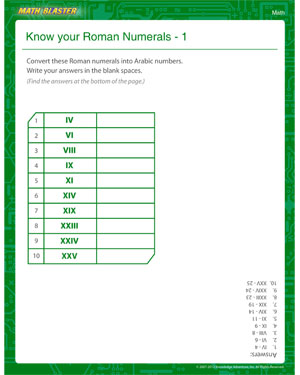 Know your roman numerals 1 free math worksheet math blaster know your roman numerals 1 ibookread