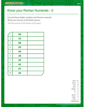 Know your Roman Numerals 2 - Printable Math Worksheet for Fourth Grade