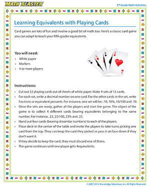 Learning Equivalents with Playing Cards - Printable 5th Grade Activity for Kids
