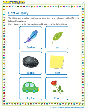 Light or Heavy | Free, Fun Kindergarten Math Worksheets | Math Blaster