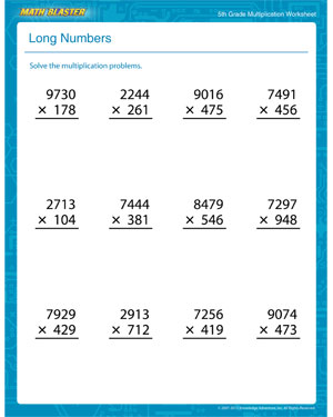 long numbers  free printable multiplication worksheet for th grade  long numbers  printable multiplication worksheet for fifth graders