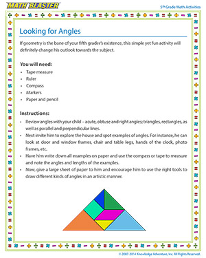 Looking for Angles - Printable Online 5th Grade Angles Activity for Kids