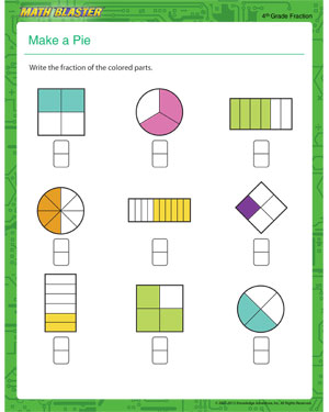 math worksheet : make a pie  free fraction worksheet online  math blaster : Free Fraction Worksheets For 3rd Grade