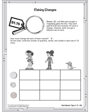 Making Changes - Printable Math Worksheet for Elementary