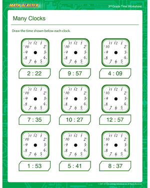 math worksheet : many clocks  free telling the time printables for 3rd grade  : Free Printable Third Grade Math Worksheets