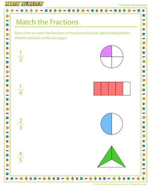 Match the Fractions - Printable Fractions Worksheet Online